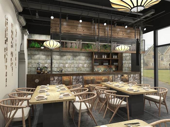 小型中式餐厅进门区装修设计效果图