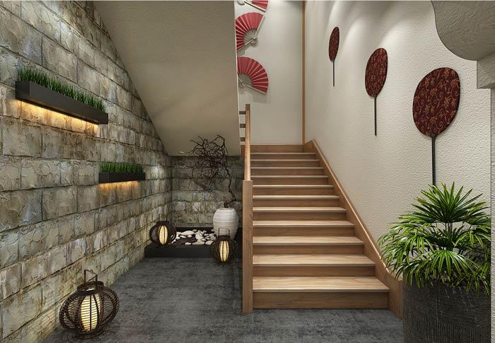 小型中式餐厅楼梯装修设计效果图